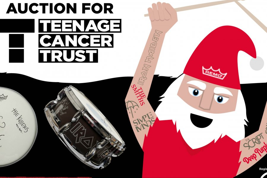 Win Iconic Gear in the 12 Drummers Drumming Teenage Cancer Trust Auction